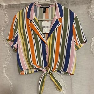 Striped cropped button-up